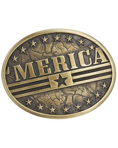 Cody James Men's 'Merica Flag Buckle, Bronze, hi-res