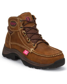 Tony Lama Women's 3R Tuscola Lace-Up Work Boots - Steel Toe , Brown, hi-res