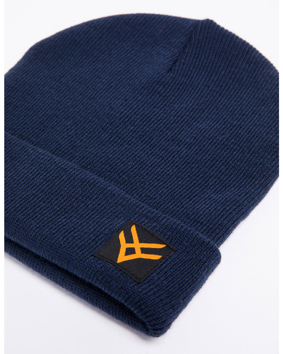 Hawx® Men's Navy Side Logo Beanie, Navy, hi-res