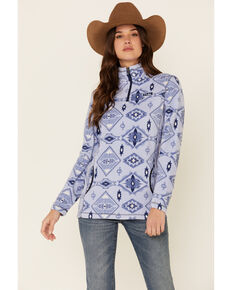 Powder River Outfitters Women's Blue Aztec Fleece 1/4 Zip Pullover , Blue, hi-res