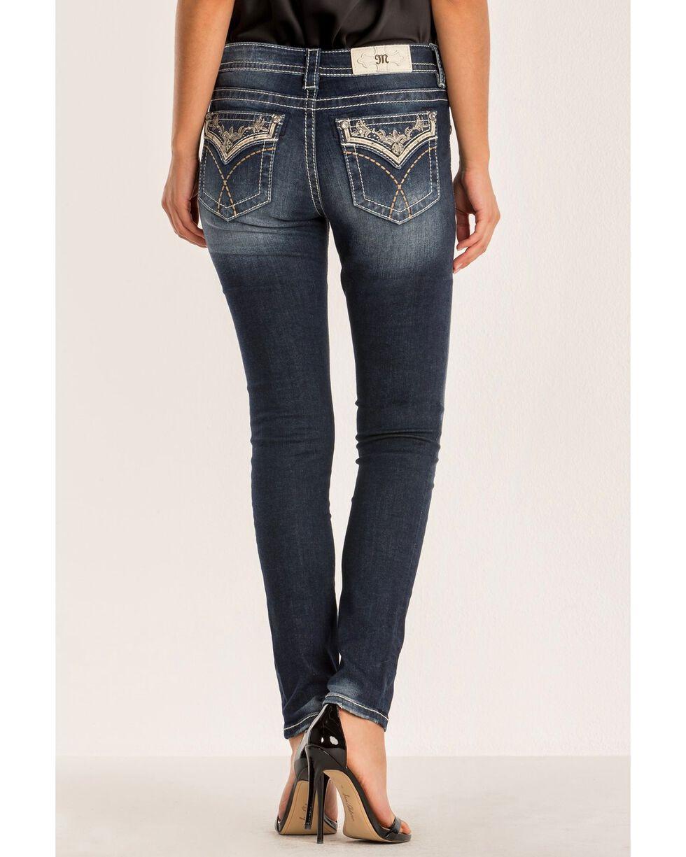 Miss Me Women's Cross The Lines Dark Skinny Jeans , Blue, hi-res