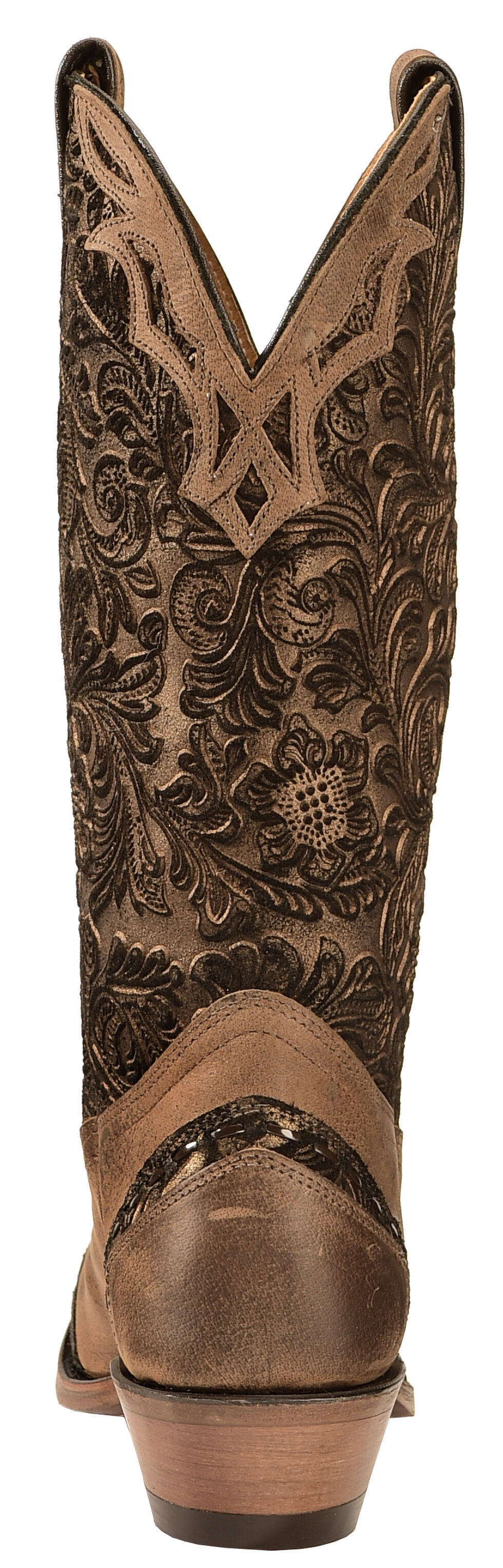 Boulet Fancy Hand Tooled Inlay Cowgirl Boots - Snip Toe, Tobacco, hi-res