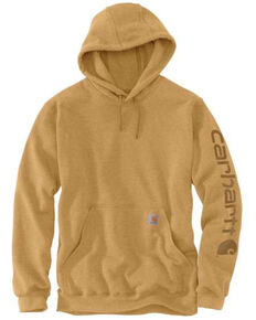 Carhartt Men's Yellowstone Heather Midweight Signature Sleeve Hooded Work Sweatshirt - Tall, Yellow, hi-res