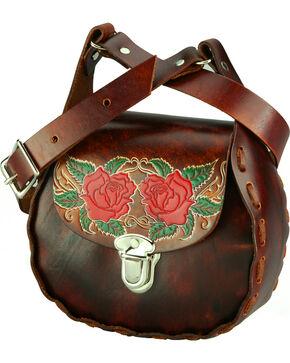 Western Express Women's Brown Floral Leather Shoulder Bag , Brown, hi-res