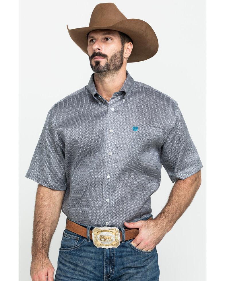 Cinch Men's Grey Tencel Geo Print Short Sleeve Western Shirt , Grey, hi-res