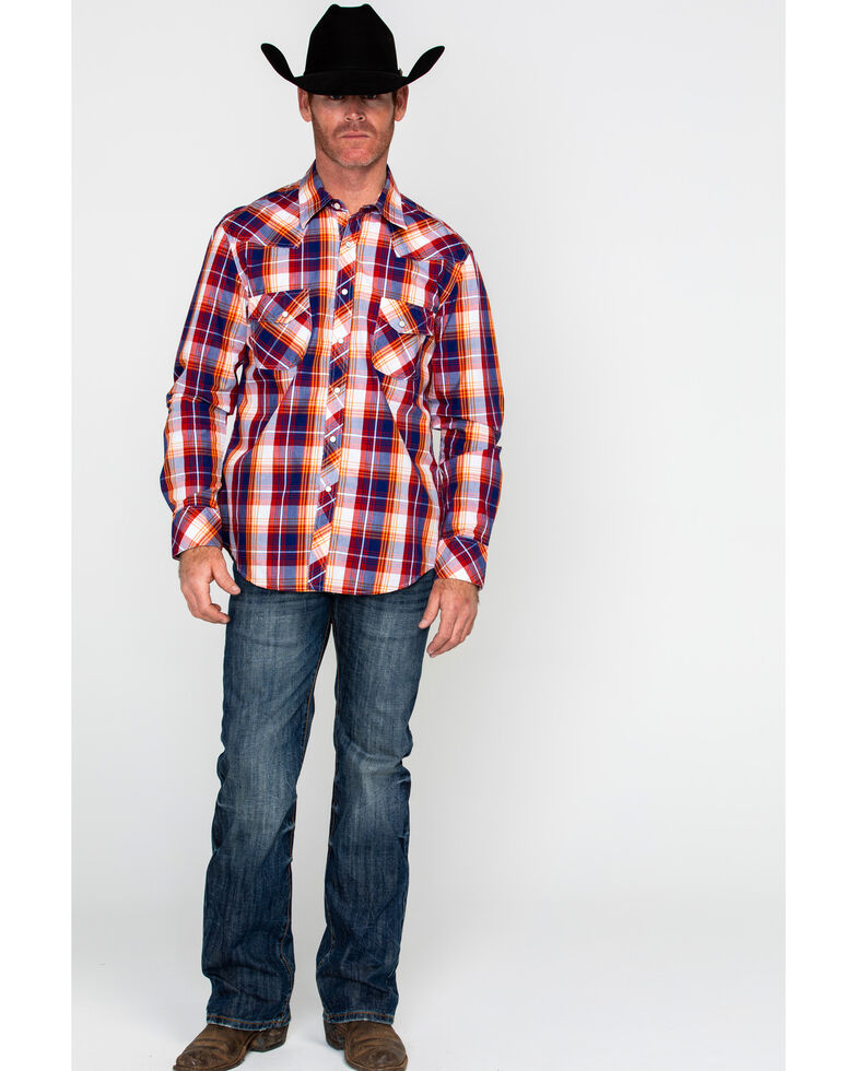 Rock & Roll Cowboy Men's Red Crinkled Wash Plaid Long Sleeve Western Shirt , Red, hi-res