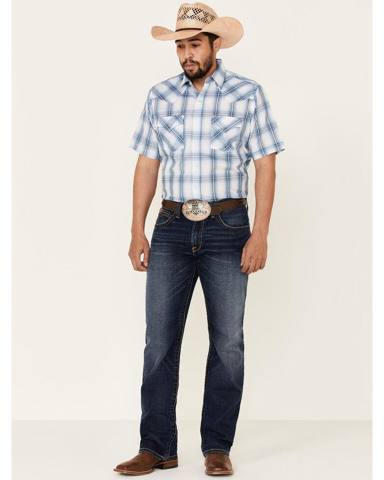 Ely Walker Men's Multi Ombre Plaid Short Sleeve Snap Western Shirt , Multi, hi-res