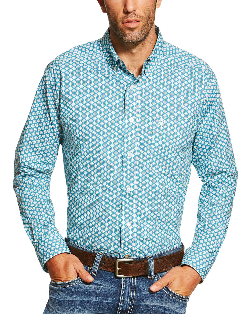 Ariat Men's Teal Fallon Print Button Down Long Sleeve Shirt , Teal, hi-res