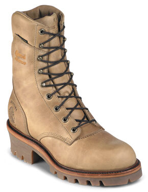 "Chippewa Insulated Waterproof Apache 9"" Lace-Up Work Boots - Round Toe, Golden Tan, hi-res"