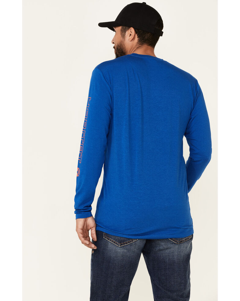 HOOey Men's Blue Captain Bamboo Logo Long Sleeve T-Shirt , Blue, hi-res
