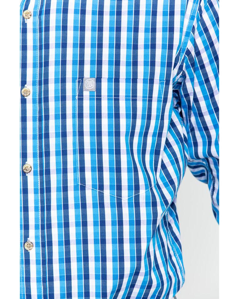 Wrangler Men's Blue Plaid Performance Long Sleeve Western Shirt , Blue/white, hi-res