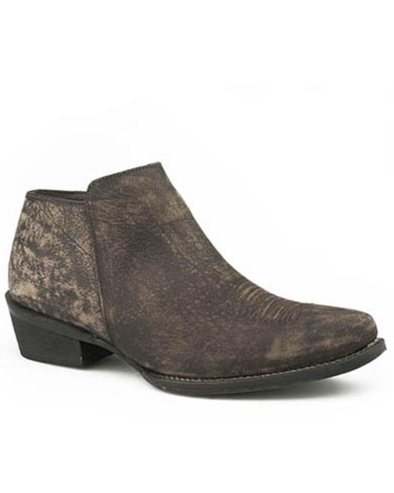 Roper Women's Brown Sanded Leather Western Booties - Snip Toe, Brown, hi-res