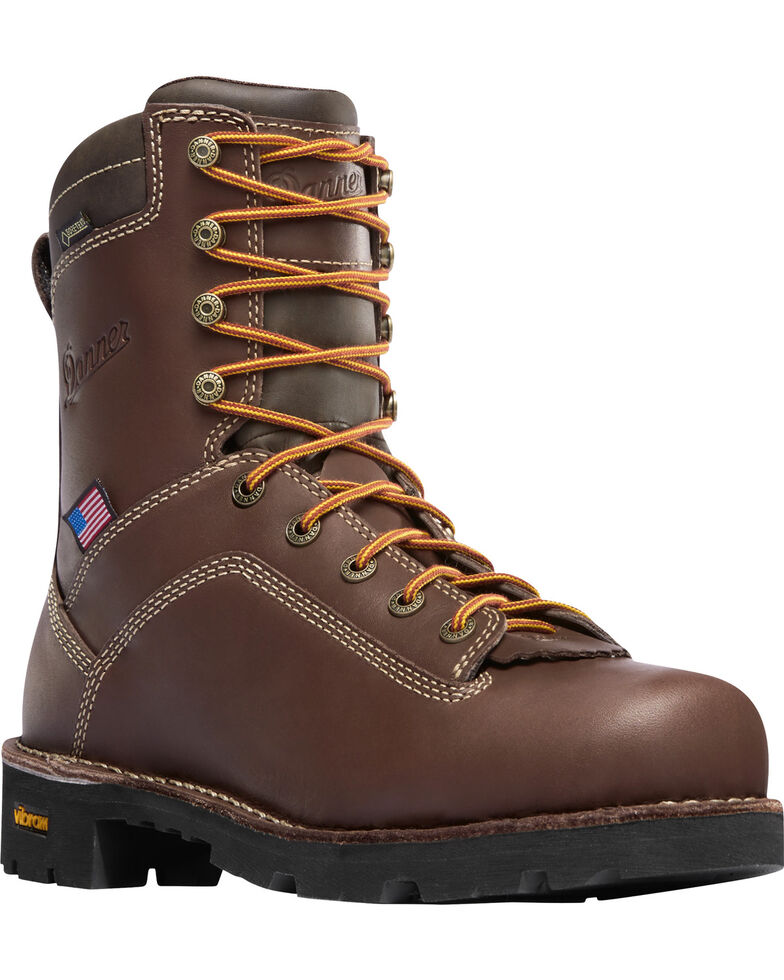 """Danner Men's Brown Quarry USA 8"""" Work Boots - Soft Round Toe, Brown, hi-res"""