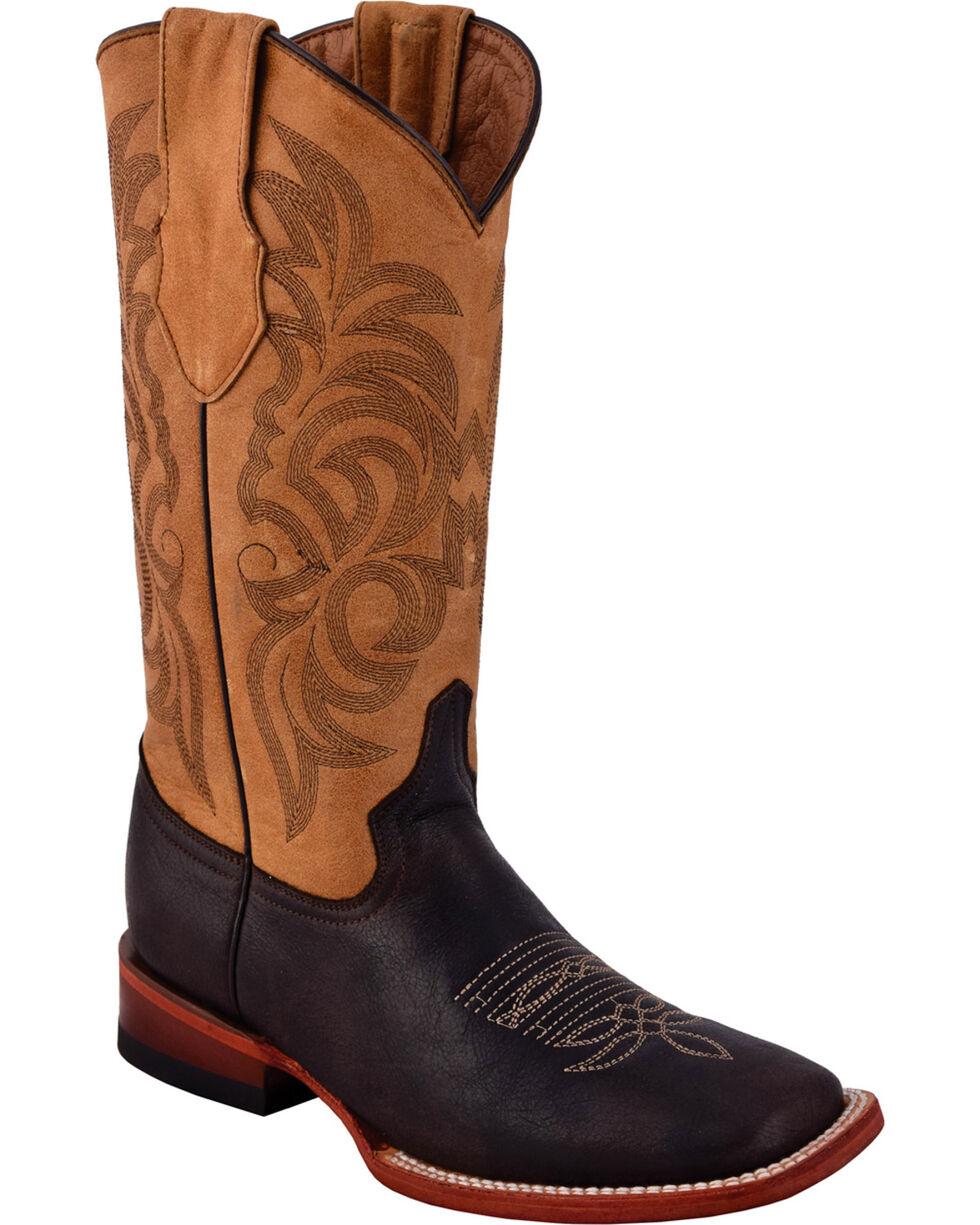 Ferrini Women's Cowhide Nicotine Cowgirl Boots - Square Toe, Dark Grey, hi-res