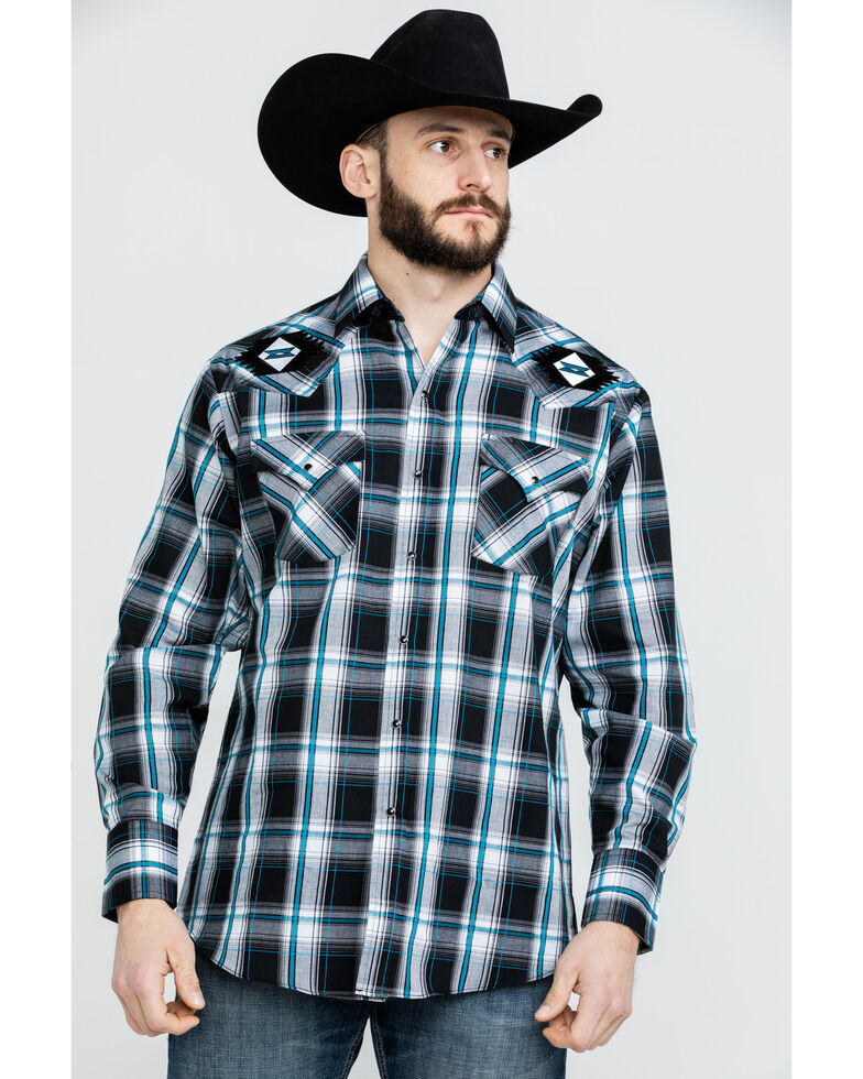 Ely Cattleman Men's Retro Aztec Embroidered Plaid Long Sleeve Western Shirt  , Black, hi-res