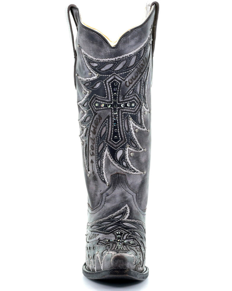 Corral Women's Overlay Embroidery Western Boots - Snip Toe, Grey, hi-res