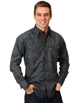 Roper Men's Floral Paisley Long Sleeve Western Shirt , Black, hi-res