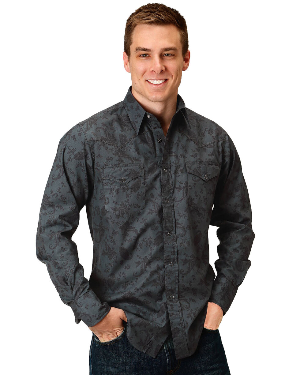 Roper Men's Floral Paisley Long Sleeve Western Shirt , Black, hi-res