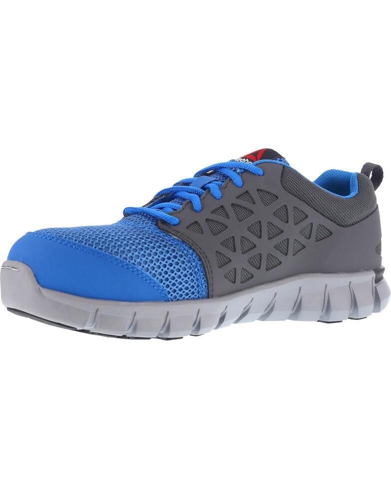 Reebok Women's Sublite Cushion Athletic Work Oxfords - Alloy Toe, Blue, hi-res