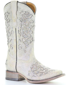 Corral Youth Girls' White Glitter Inlay Western Boots - Square Toe, White, hi-res