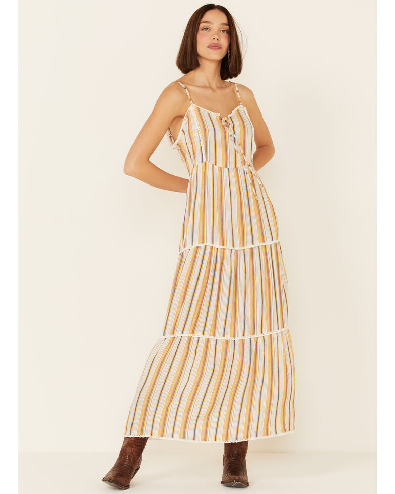 Angie Women's Mustard Stripe Tiered Maxi Dress, Mustard, hi-res