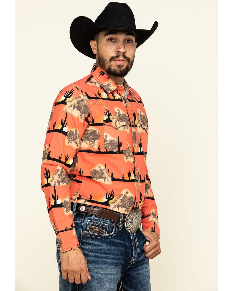 Wrangler Retro Men's Orange Scenic Bull Print Long Sleeve Western Shirt , Orange, hi-res