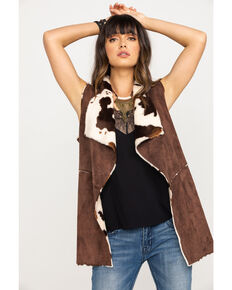 Powder River Outfitters Women's Faux Fur Suede Vest, Brown, hi-res