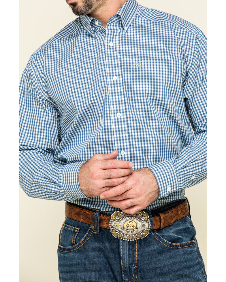 Ariat Men's Wrinkle Free Zestmont Small Plaid Long Sleeve Western Shirt - Tall, Blue, hi-res