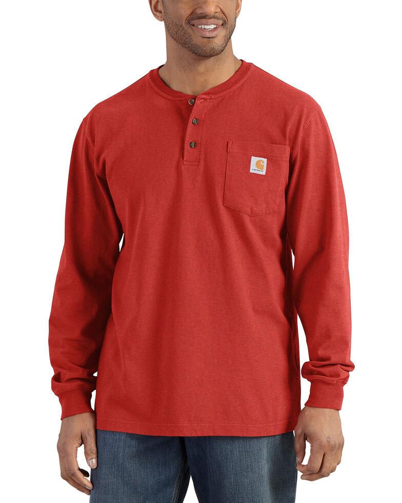 Carhartt Men's Solid Henley Long Sleeve Work Shirt - Big & Tall, Orange, hi-res