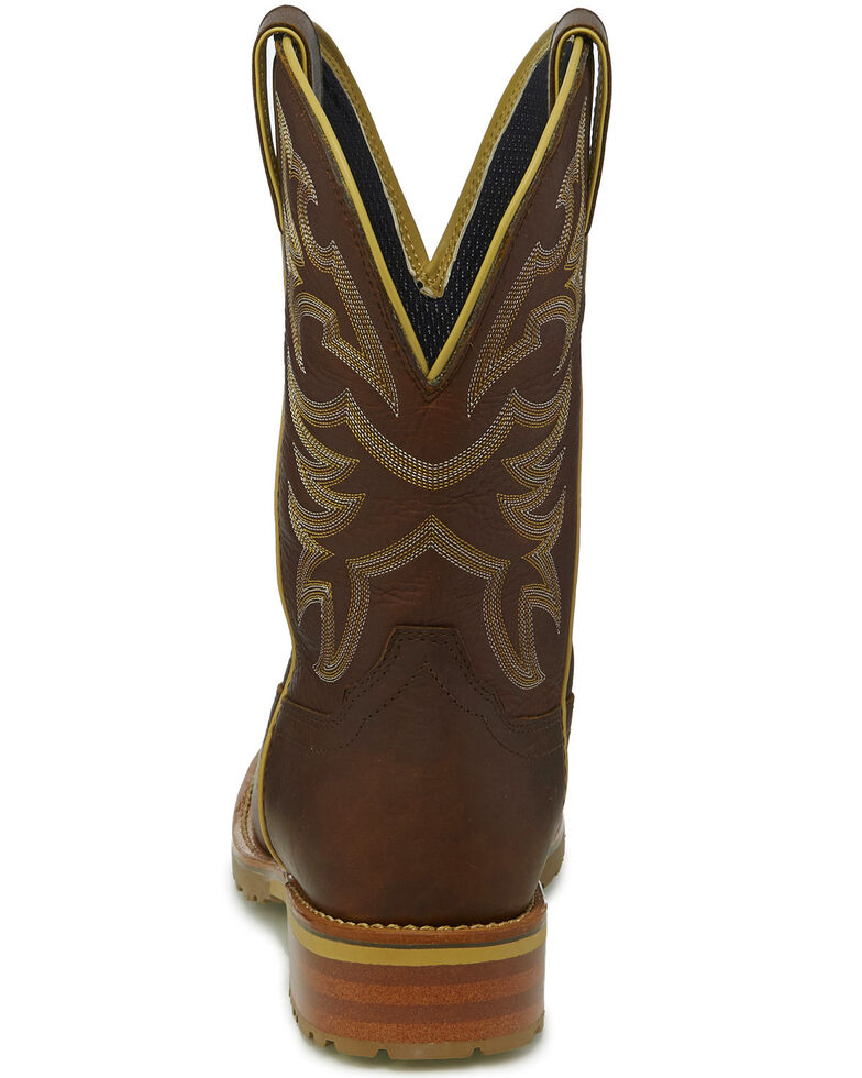 Justin Men's Marshal Whiskey Western Work Boots - Square Toe, Cognac, hi-res