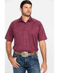 Ariat Men's Maroon Charger Short Sleeve Polo Shirt , Maroon, hi-res
