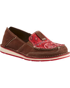 ec7e5d3a Ariat Women's Red Paisley Print Slip On Cruiser Shoes