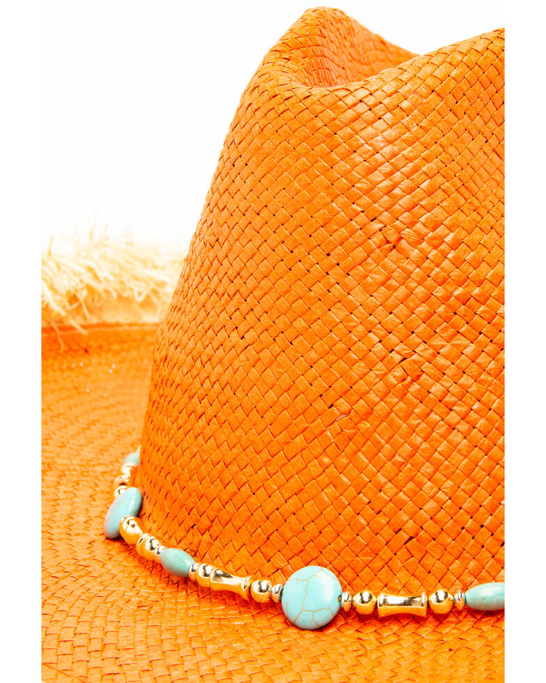 San Diego Hat Co. Women's Rust Beaded Straw Hat, Rust Copper, hi-res