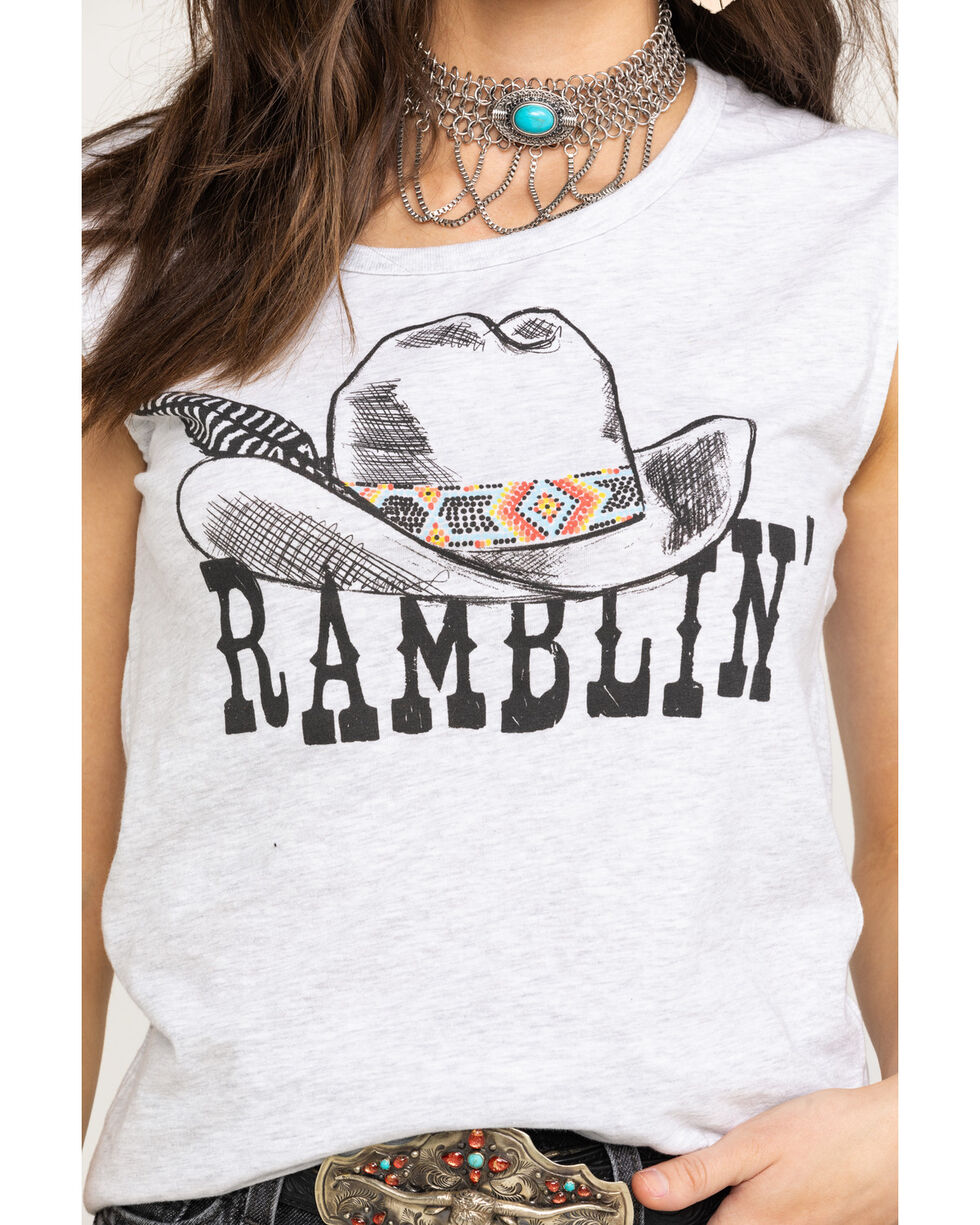 Rock & Roll Cowgirl Women's Ramblin' Graphic Muscle Tank Top, Heather Grey, hi-res