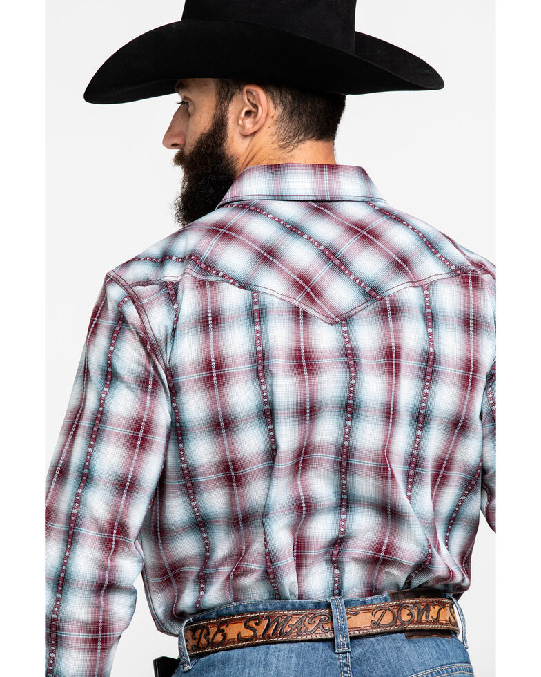 Cody James Men's MC Calister Med Plaid Long Sleeve Western Shirt - Big , Blue/red, hi-res