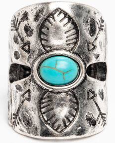 Shyanne Women's Hidden Treasure Hammered Turquoise Stone Ring, Silver, hi-res