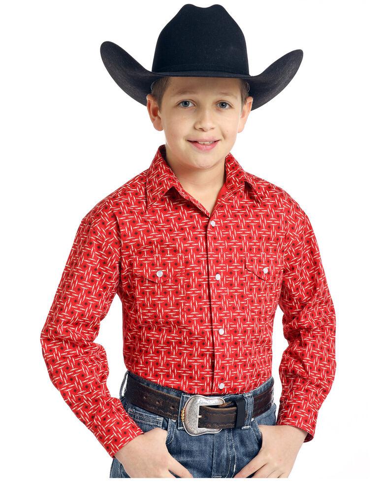Rough Stock by Panhandle Boys' Ramah Vintage Print Long Sleeve Western Shirt , Red, hi-res