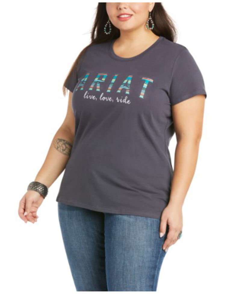 Ariat Women's R.E.A.L Oasis Logo Graphic Short Sleeve Tee - Plus, Navy, hi-res