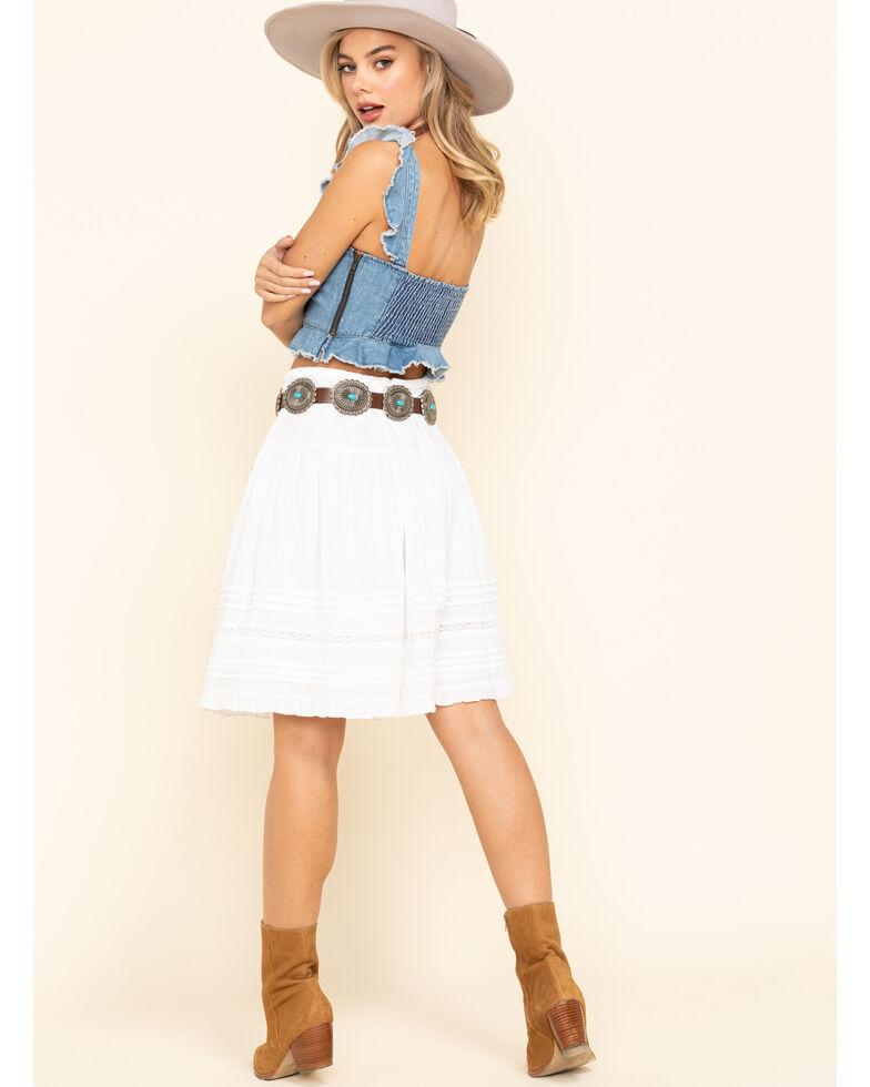 Bila Women's White Tiered Mini Skirt , White, hi-res