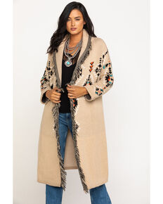 Miss Me Women's Taupe Aztec Belted Fringe Duster Cardigan, Taupe, hi-res