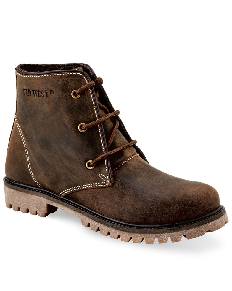 Old West Women's Brown Lace Up Boots, Brown, hi-res