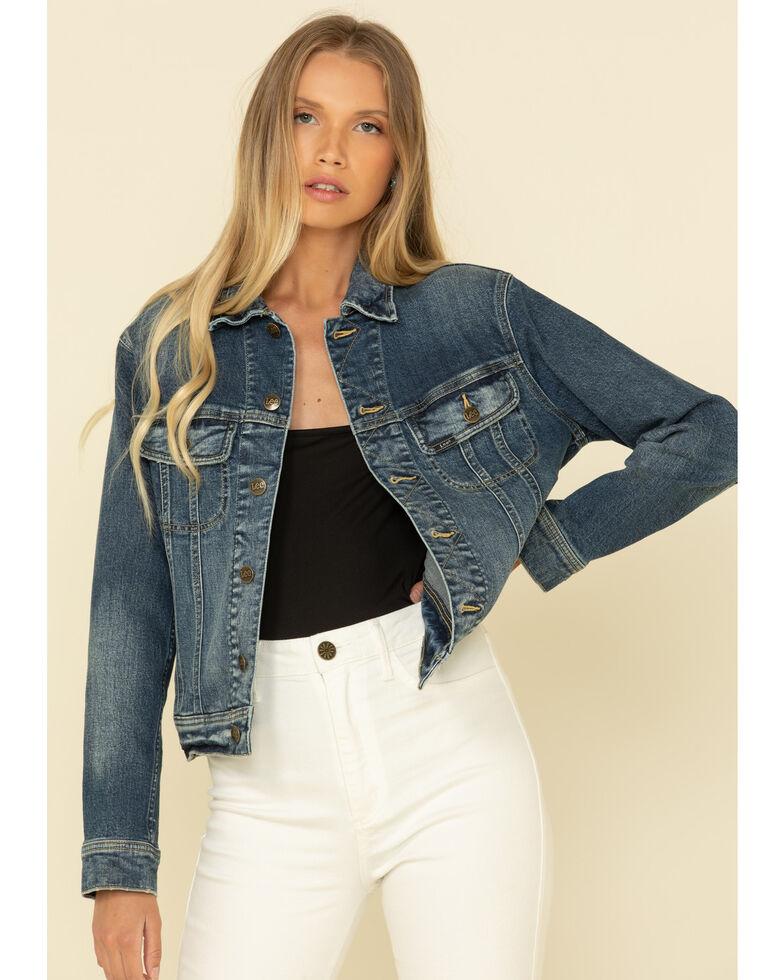 Lee Women's Dark Wash Rider Denim Jacket , Blue, hi-res