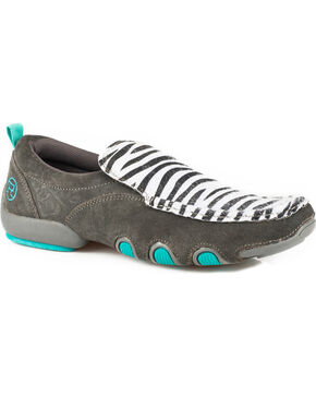 Roper Women's Bailey Zebra Driving Mocs, Grey, hi-res