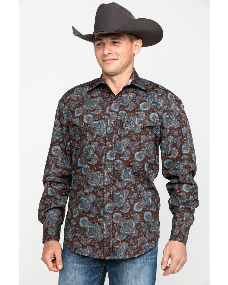 Stetson Men's Rail Large Paisley Print Long Sleeve Western Shirt , Brown, hi-res