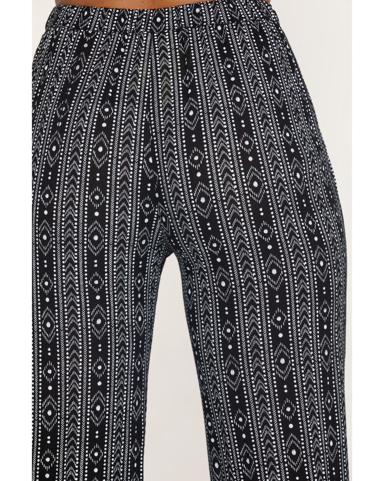 Rock & Roll Denim Women's Black Aztec Print Pants, Black, hi-res
