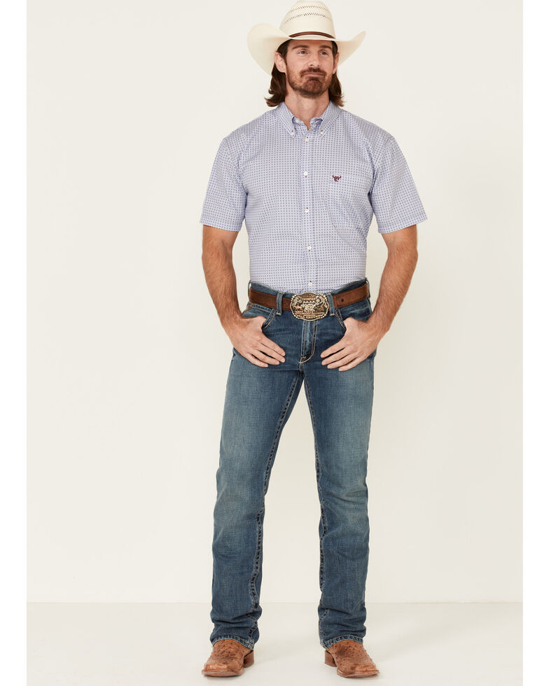 Cowboy Hardware Men's Two Tone Geo Print Short Sleeve Button-Down Western Shirt , Turquoise, hi-res