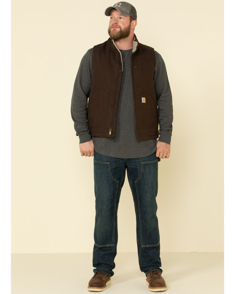 Carhartt Men's Dark Brown Washed Duck Sherpa Lined Mock Neck Work Vest - Tall , Dark Brown, hi-res