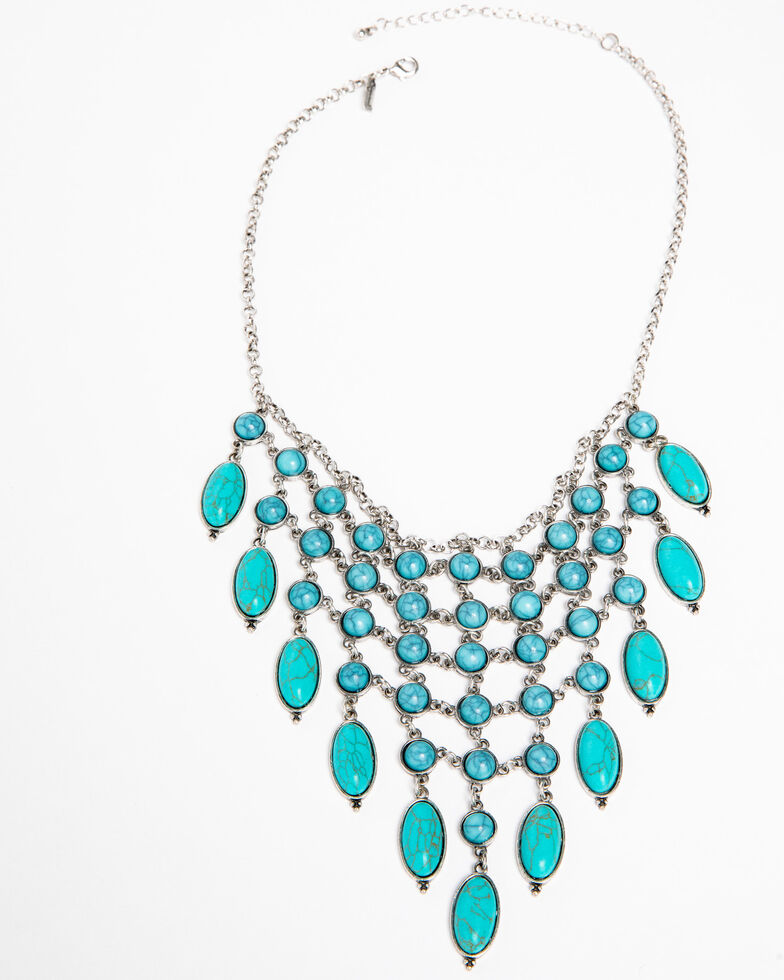 Shyanne Women's Blue Falls Fancy Turquoise Bib Necklace, Silver, hi-res