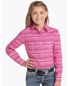 White Label by Panhandle Girls' Pink Aztec Long Sleeve Western Shirt, Pink, hi-res