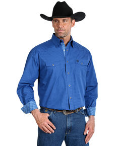George Strait By Wrangler Men's Blue Dot Geo Print Long Sleeve Western Shirt - Tall , Blue, hi-res